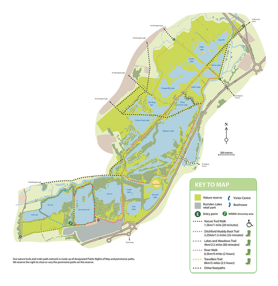 Image of all the walking trails available at Rushden Lakes and the surrounding area